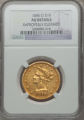 Liberty Eagles: , 1846-O $10 -- Improperly Cleaned -- NGC Details. AU. NGC Census:(10/48). PCGS Population (4/9). Mintage: 81,780. Numismedi...