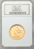 Liberty Eagles: , 1893 $10 MS64 NGC. NGC Census: (717/25). PCGS Population (226/4). Mintage: 1,840,895. Numismedia Wsl. Price for problem fre...
