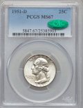 Washington Quarters: , 1951-D 25C MS67 PCGS. CAC. PCGS Population (22/0). NGC Census:(124/0). Mintage: 35,354,800. Numismedia Wsl. Price for prob...