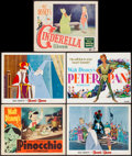 "Movie Posters:Animation, Pinocchio & Others Lot (RKO, R-1954). Title Lobby Card & Lobby Cards (4) (11"" X 14""). Animation.. ... (Total: 5 Items)"