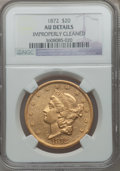 Liberty Double Eagles: , 1872 $20 -- Improperly Cleaned -- NGC Details. AU. NGC Census: (45/520). PCGS Population (48/314). Mintage: 251,880. Numism...