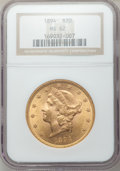 Liberty Double Eagles: , 1894 $20 MS62 NGC. NGC Census: (5314/1444). PCGS Population(3748/1144). Mintage: 1,368,990. Numismedia Wsl. Price for prob...