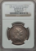 Betts Medals, 1782 France, War of America VF30 NGC. Variant of Betts-534,LEC-206. Silver, 32 mm. 14.3 gm....