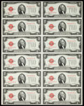 Fr. 1504 $2 1928C Legal Tender Notes. Uncut Sheet of Twelve. Choice About Uncirculated