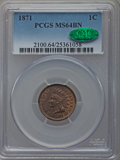 Indian Cents: , 1871 1C MS64 Brown PCGS. CAC. PCGS Population (31/11). NGC Census:(63/24). Mintage: 3,929,500. Numismedia Wsl. Price for p...