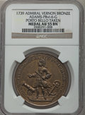 Betts Medals, 1739 Admiral Vernon, Porto Bello Taken AU55 NGC. Betts-224,Adams-PBvi-6-G. Bronze....