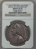 Betts Medals, (1766) William Pitt, Stamp Act Repeal XF45 NGC. Betts-516, BHM-100.Silver, 25.6 gm. 40 mm....