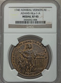 Betts Medals, 1740 Admiral Vernon XF45 NGC. Betts-247, Adams-NLa-1-A. Bronze....