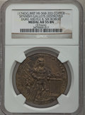 Betts Medals, (1742) Spanish Galleys Destroyed AU55 NGC. Betts-247, MI-568-203.Copper. Great Britain. Duke Argyle & Sir Robert....