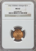 Commemorative Gold: , 1926 $2 1/2 Sesquicentennial MS62 NGC. NGC Census: (1187/5439).PCGS Population (1372/8834). Mintage: 46,019. Numismedia Ws...
