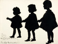 "Books:Prints & Leaves, Mariello Andrews, artist. Silhouette ""Three Little Grand-Daughters"", Circa 1926. 12"" x 9"". Black paper cut outs mounted to a..."