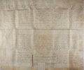 """Books:Prints & Leaves, 1773 English Legal Estate Document. 33"""" x 27"""" on vellum. Largedocument with codicils, complete with seals. Very good condit..."""