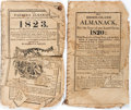 Books:Americana & American History, Lot of Two American Almanacs, Circa 1820 and 1823. Includes an 1820Rhode-Island Almanack and The Farmer's Almanack, N...