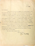 "Autographs:Authors, American Novelist Charles Bernard Nordhoff (1887-1947) Typed LetterSigned ""Chas Nordhoff"". One page, 8.5"" x 11"", Tahiti..."