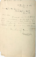 "Autographs:Authors, American Journalist Edgar W. Nye (1850-1896) Autograph Letter Signed ""Edgar W. Nye"". One page, 6"" x 9.25"", New York, Jan..."