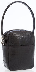 Luxury Accessories:Bags, Matte Black Crocodile Pouch with Top Handle Bag. ...