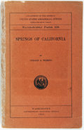 Books:Americana & American History, Gerald A. Waring. Department of the Interior United StatesGeological Survey Water Paper 338 Springs of California...