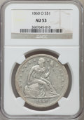 Seated Dollars: , 1860-O $1 AU53 NGC. NGC Census: (25/616). PCGS Population (43/879).Mintage: 515,000. Numismedia Wsl. Price for problem fre...