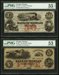 Obsoletes By State:Georgia, Morgan, GA- Bank of Morgan $5, $50 March 9, 1857 G8a, G18a. ... (Total: 2 notes)