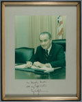 """Autographs:U.S. Presidents, Lyndon B. Johnson Photograph Signed. Photo measures 9.5"""" x 7.5"""".Overall size with mat and frame measures 15"""" x 12"""".. ..."""