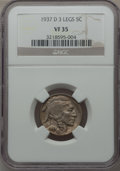 Buffalo Nickels: , 1937-D 5C Three-Legged VF35 NGC. NGC Census: (156/4761). PCGSPopulation (408/4828). Mintage: 17,826,000. Numismedia Wsl. P...