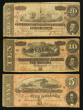 Confederate Notes:Group Lots, T69; T68; T67 $5; $10; $20 1864.. ... (Total: 3 notes)