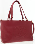 Luxury Accessories:Bags, Chanel Burgundy Caviar Leather Large CC Tote Bag. ...