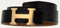 Luxury Accessories:Accessories, Hermes 70cm Black Calf Box Leather & Gold Courchevel LeatherReversible H Belt with Gold Hardware. ...
