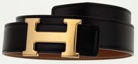 Hermes 70cm Black Calf Box Leather & Gold Courchevel Leather Reversible H Belt with Gold Hardware