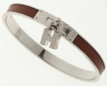Luxury Accessories:Accessories, Hermes Noisette Chevre Leather Kelly H Bangle Bracelet with Palladium Hardware. ...