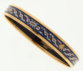 Luxury Accessories:Accessories, Hermes 65cm Blue Mosaic Enamel Bangle Bracelet with Gold Hardware....