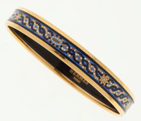 Hermes 65cm Blue Mosaic Enamel Bangle Bracelet with Gold Hardware