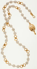 Luxury Accessories:Accessories, Chanel Hammered Gold & Faux Pearl Necklace. ...
