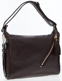 Jimmy Choo Brown Leather Lilly Whipstitch Tassel Hobo Bag