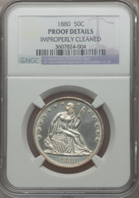 1880 50C -- Improperly Cleaned -- NGC Details. Proof. NGC Census: (3/269). PCGS Population (13/324). Mintage: 1,355. Num...