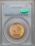 Liberty Eagles: , 1880-S $10 MS62 PCGS. CAC. PCGS Population (156/51). NGC Census:(239/38). Mintage: 506,250. Numismedia Wsl. Price for prob...
