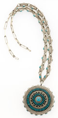 Estate Jewelry:Necklaces, Turquoise, Sterling Silver Necklace, Zuni. ...