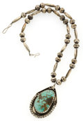Estate Jewelry:Necklaces, Turquoise Silver Necklace. ...