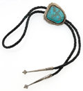Estate Jewelry:Necklaces, Turquoise, Silver, Leather Bolo Tie. ...