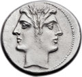 Ancients:Roman Republic, Ancients: Anonymous. Ca. 225-214 BC. AR didrachm or quadrigatus(22mm, 6.52 gm, 5h). ...