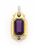 Estate Jewelry:Pendants and Lockets, Amethyst, Garnet, Diamond, Gold Pendant. ...