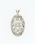 Estate Jewelry:Pendants and Lockets, Diamond, White Gold Pendant. ...