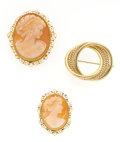 Estate Jewelry:Brooches - Pins, Shell Cameo, Gold Brooches. ... (Total: 3 Items)