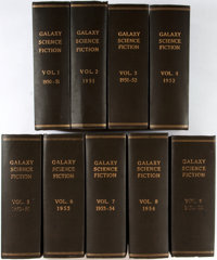 Galaxy Science Fiction Magazine. Sixty-three issues bound in nine twelvemo volumes spanning 195