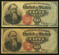 Two Fr. 1376 50¢ Fourth Issue Stanton Notes Very Good or Better