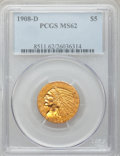 Indian Half Eagles: , 1908-D $5 MS62 PCGS. PCGS Population (977/1660). NGC Census:(836/1423). Mintage: 148,000. Numismedia Wsl. Price for proble...
