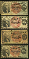 A Quartette of 25¢ Fourth Issue Notes Very Good or Better