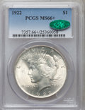 Peace Dollars, 1922 $1 MS66+ PCGS. CAC....