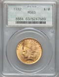 Indian Eagles: , 1932 $10 MS63 PCGS. PCGS Population (18324/10187). NGC Census:(23286/13740). Mintage: 4,463,000. Numismedia Wsl. Price for...