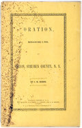 Books:Pamphlets & Tracts, [Slavery]. C. H. Berry. Oration Delivered at Caxton SteubenCounty, N.Y. Corning, S. K. Wolcott, et al., 1848. Octav...
